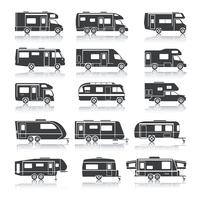 Icone nere del veicolo ricreativo vettore
