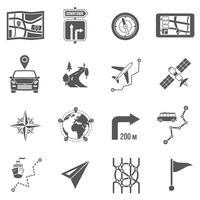 Mappa icone nere vettore