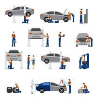 Icone piane del meccanico vettore