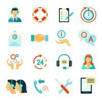 Icone a colori stile piano di assistenza clienti