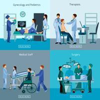 Insegna quadrata delle icone piane mediche 4