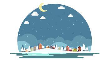 Design piatto di sfondo paesaggio invernale