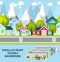 Fondo pronto di parallax del paesaggio della città della provincia vettore