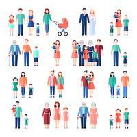 Set di immagini piatte per famiglie vettore