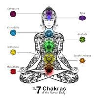 Icona di meditating della donna di posa del loto di yoga vettore