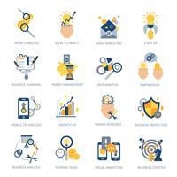 Set di icone di analisi aziendale vettore