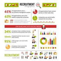 Set di infografica di reclutamento vettore