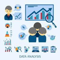 Composizione piana nelle icone di concetto di analisi dei dati vettore