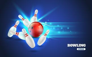 Illustrazione di colpo di bowling vettore