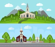 Set di banner piatto Chiesa vettore