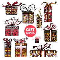 Le scatole di regali di festa hanno fissato il doodle di colore vettore