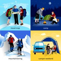 Set di icone di persone camper vettore