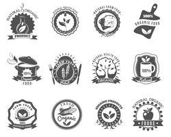 Modelli di etichette di marchi di alimenti biologici impostati in nero