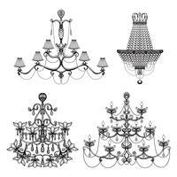 Set di lampadari decorativi vettore