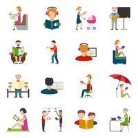 Set di icone di lettura di persone vettore