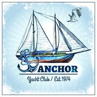 poster di nave a vela vettore