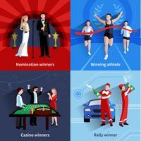Set di icone vincenti vettore