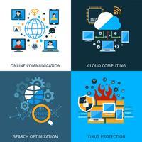 Set di concetti di sicurezza di rete vettore