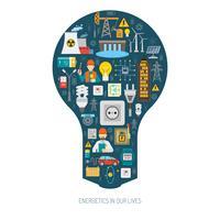 Manifesto della lampadina di concetto del consumo di produzione di energia vettore