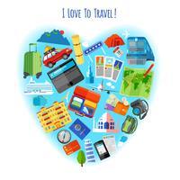 Amo viaggiare poster concetto icona