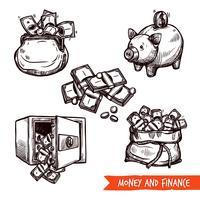 Doodle stabilito di simboli disegnati a mano di finanza vettore