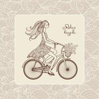 Ragazza In Bicicletta vettore