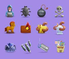 Set di icone software dannoso vettore