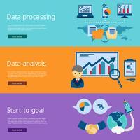 Set di banner piatto di analisi dei dati vettore