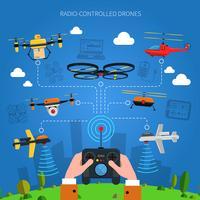 Concetto di droni radiocomandati vettore