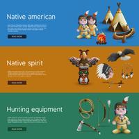 Banner nativi americani con attributi nazionali vettore