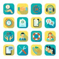 Set di icone a colori stile piano di supporto tecnico