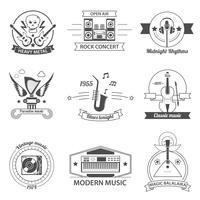 Etichette di stili musicali in bianco e nero vettore