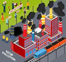 Umani contro l'inquinamento industriale vettore