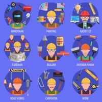 Set di icone di lavoratore vettore