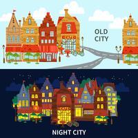 Set di banner di città vettore