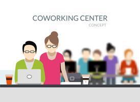 Composizione del centro di coworking vettore
