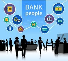 Insegna di concetto della gente della banca del mondo finanziario vettore