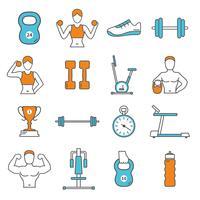 Set di icone di colore piatto linea di fitness vettore