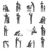 Set di icone di paternità nera piatta con padre e figli