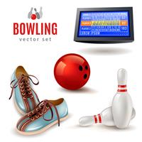 Set di icone di bowling vettore