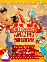 Manifesto dell'annata di annuncio di prestazioni del circo vettore