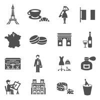 Francia icone nere vettore