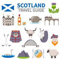Set di icone di viaggio Scozia vettore