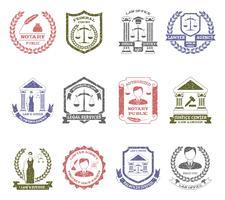 Set di timbri Logo Law and Order vettore