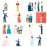 Set di icone piane di attori di teatro