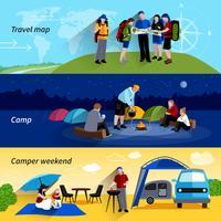 Set di banner di persone camper