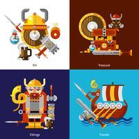 Set di icone dell'esercito di Viking vettore