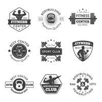 Set di emblemi palestra fitness vettore