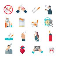 Set di icone piatte fumatori