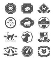 Set di etichette di gatto nero negozio di animali